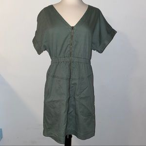 NWT Olive Green Zip Dress Pockets V Neck Sinched